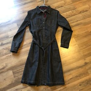 Boden black long sleeve denim dress